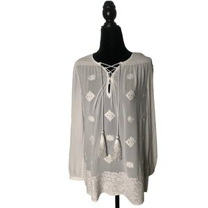 MICHAEL KORS White Embellished Georgette Blouse S